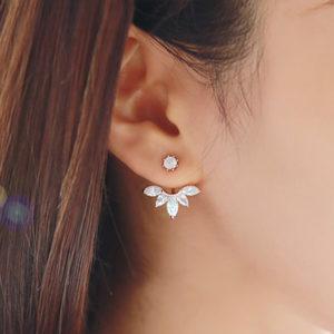 2016-Baru-Spalking-Kristal-Telinga-Bunga-Stud-Earrings-Untuk-Wanita-Perhiasan-Dua-Sisi-Daun-Telinga-Wanita