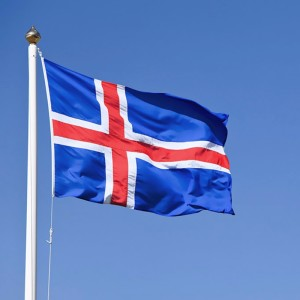 Icelandic national flag blowing in the wind, Iceland, Europe
